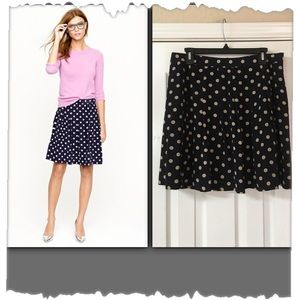 J.Crew Navy & Beige Polka Dot Pleated Skirt